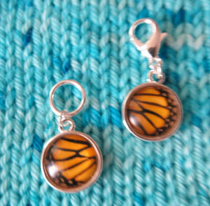 yellow and black butterfly wing stitch markers for knitting and crochet