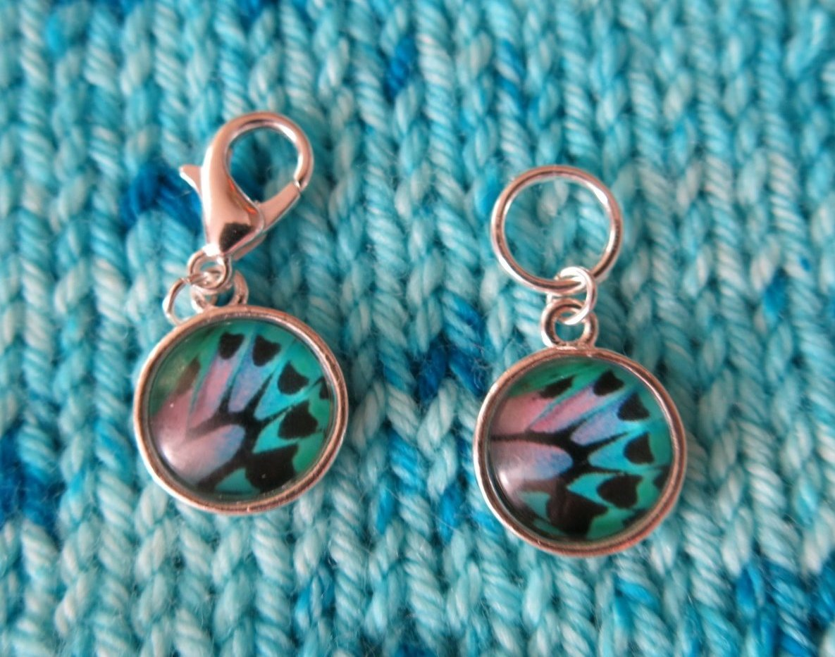 purple and blue butterfly wing stitch markers for knitting and crochet