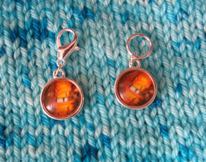 brown white and orange butterfly wing stitch markers for knitting and crochet