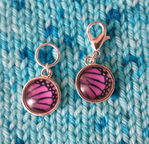 purple and black butterfly wing stitch markers for knitting and crochet