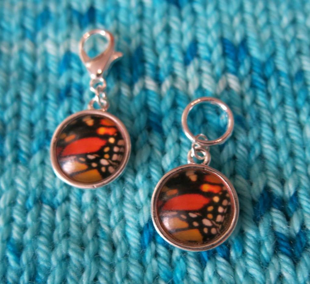 brown, black and orange butterfly wing stitch markers for knitting and crochet