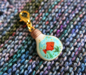 goldfish bowl hanging charm for bracelets, bags, zippers and knitting