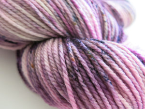 ooak speckled purple and pink aran merino wool for knitting and weaving