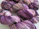 indie dyed purple and pink aran wool for knitting and crochet
