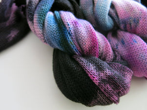 black, pink and blue gradient sock yarn for knitting and crochet
