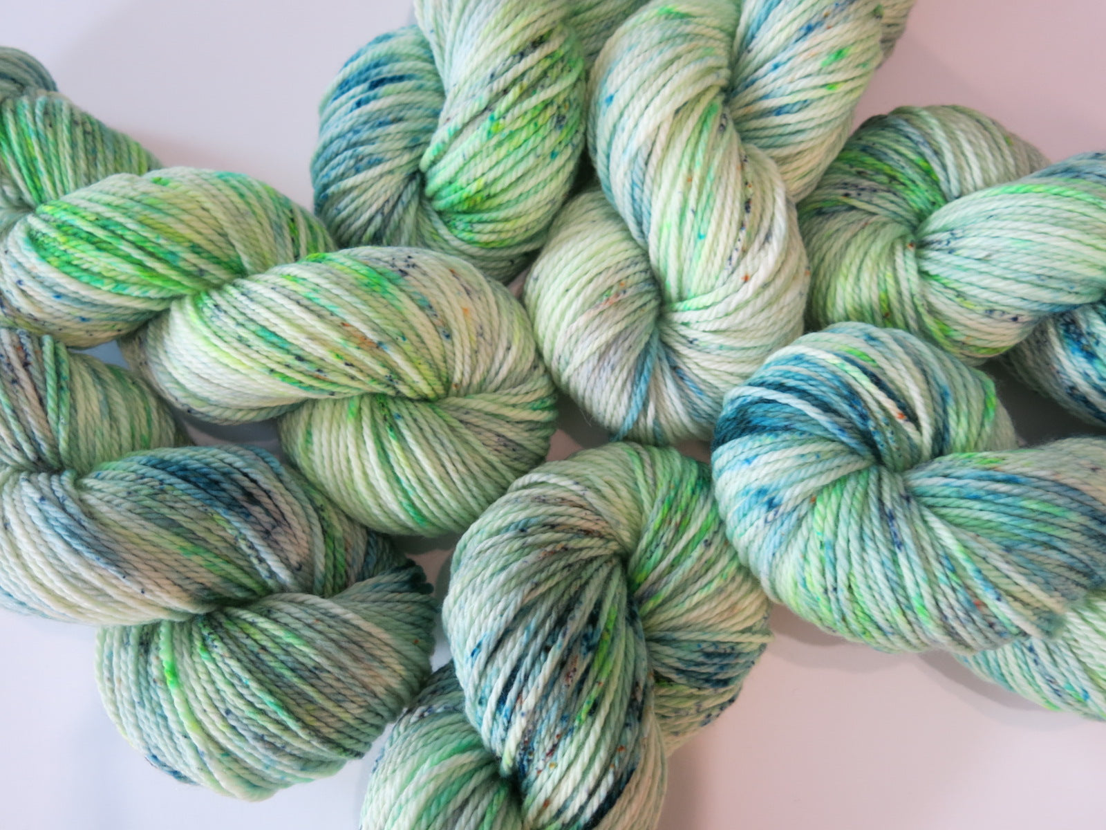 hand dyed light green bulky yarn by my mama knits