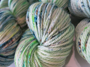 hand dyed wool for weaving, knitting and crochet in ooak light green