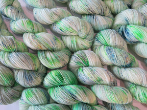 indie dyed green merino wool inspired by scooby doo villians
