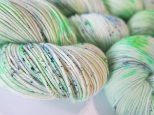 light neon green sock yarn skeins by my mama knits