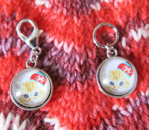 ginger tabby kitten stitch marker hanging charms for knitting and crochet