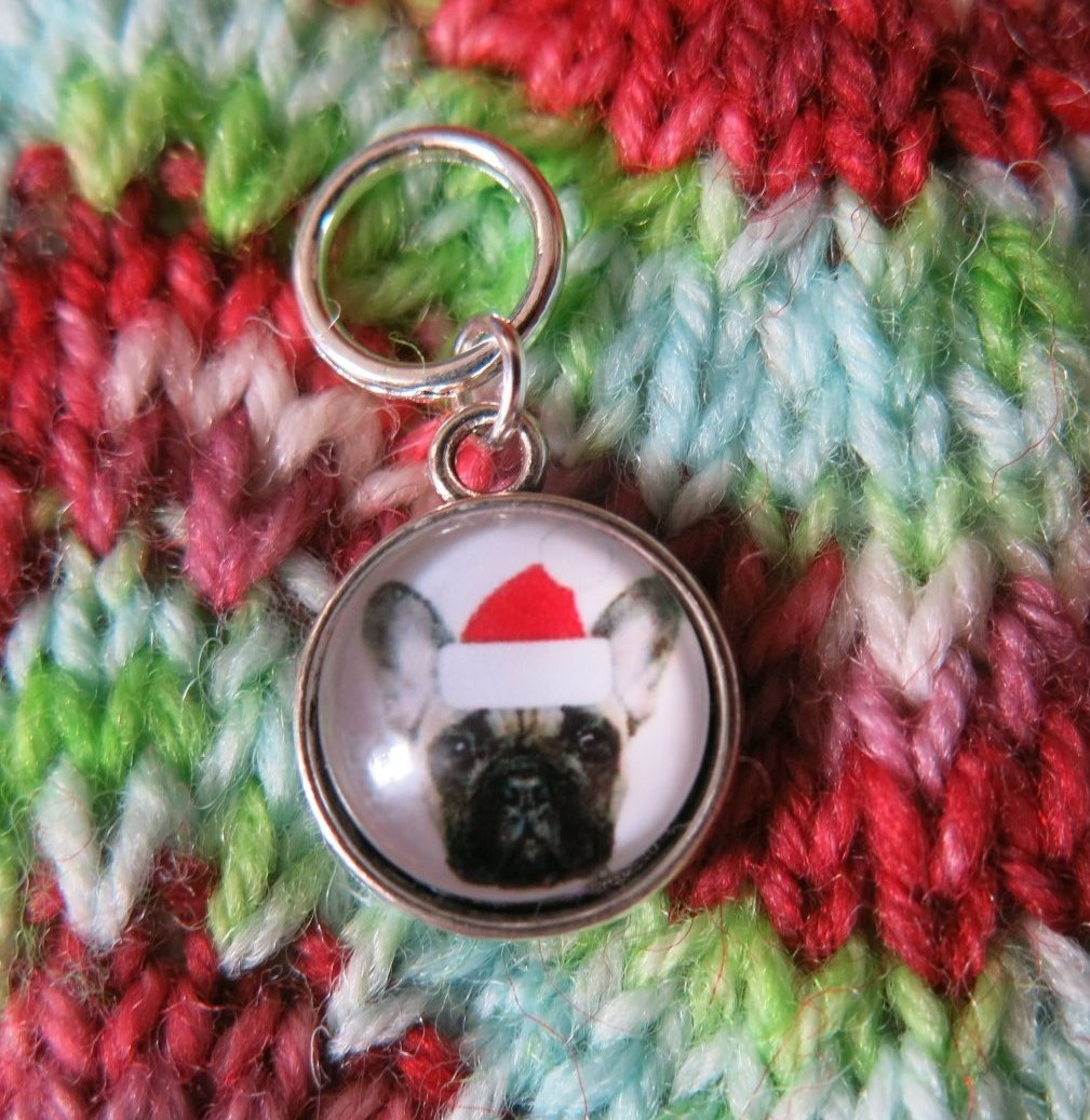 silver snagfree santa french bulldog stitch marker for knitting