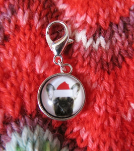 hanging clasp charm with dog in a santa hat for bags, bracelets and crochet