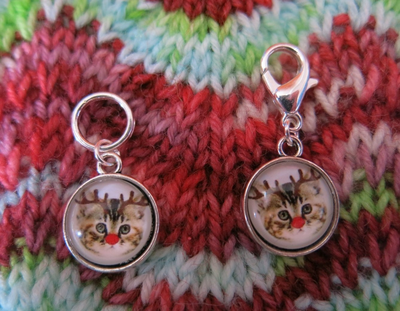 red nosed christmas tabbly cat charms for knitting and crochet