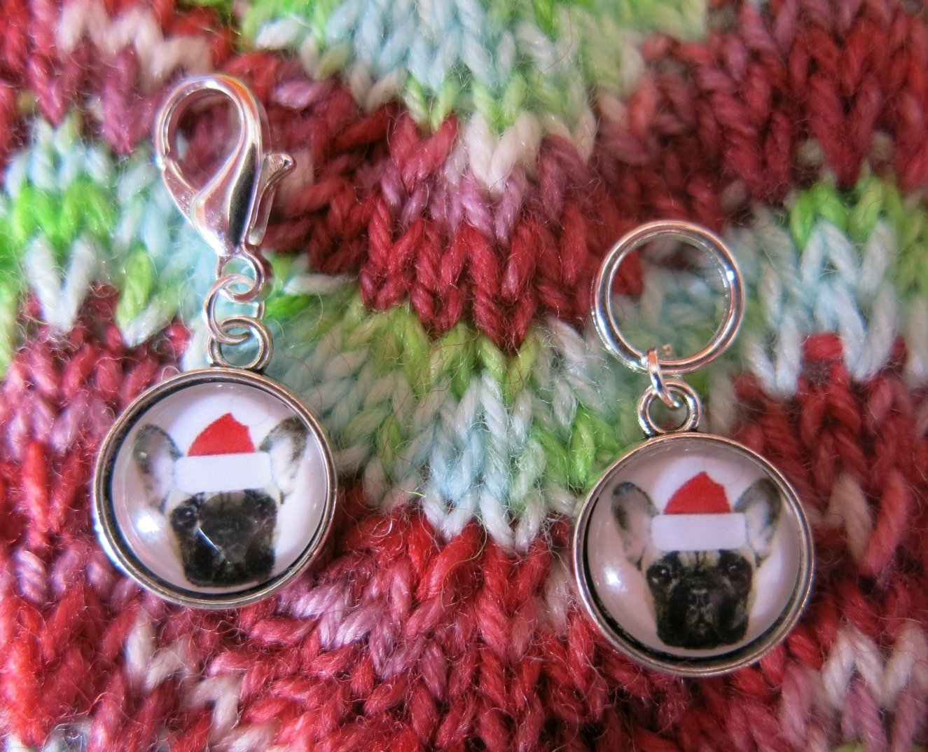 christmas santa dog charm stitch markers for knitting and crochet