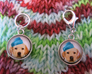 yellow labrador stitch markers for knitting and crochet