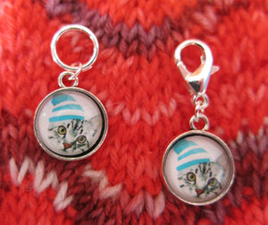 grey tabby kitten stitch marker hanging charms for knitting and crochet