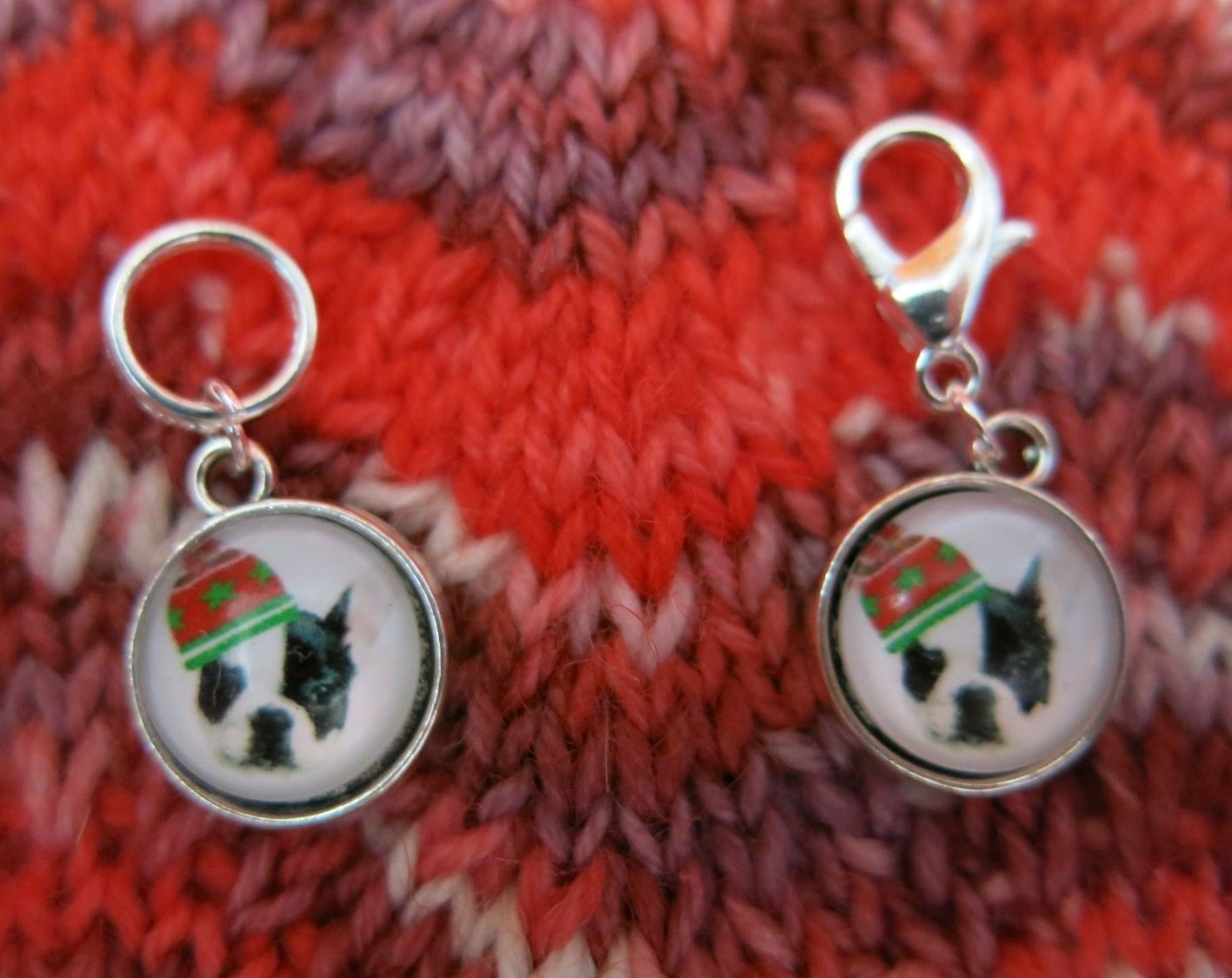 boston terrier stitch marker hanging charms for knitting and crochet