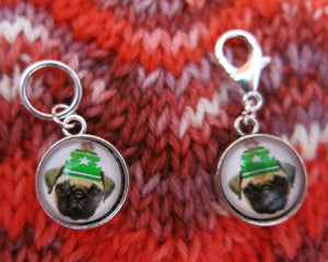 pug puppy stitch marker hanging charms for knitting and crochet