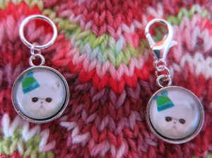 white persian kitten stitch marker hanging charms for knitting and crochet