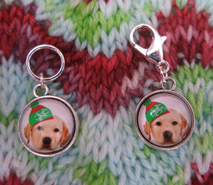 yellow labrador stitch marker charms for knitting and crochet