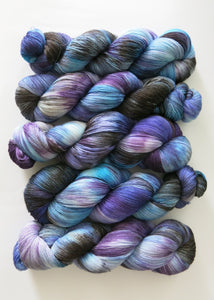 hand dyed 1ply lace weight silk and merino for weaving and knitting