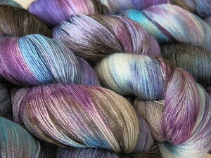 hand dyed purple and blue silk lace yarn for weaving and shawl knitting