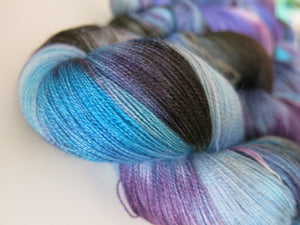 silk lace yarn handyed in purples and blues for knitting