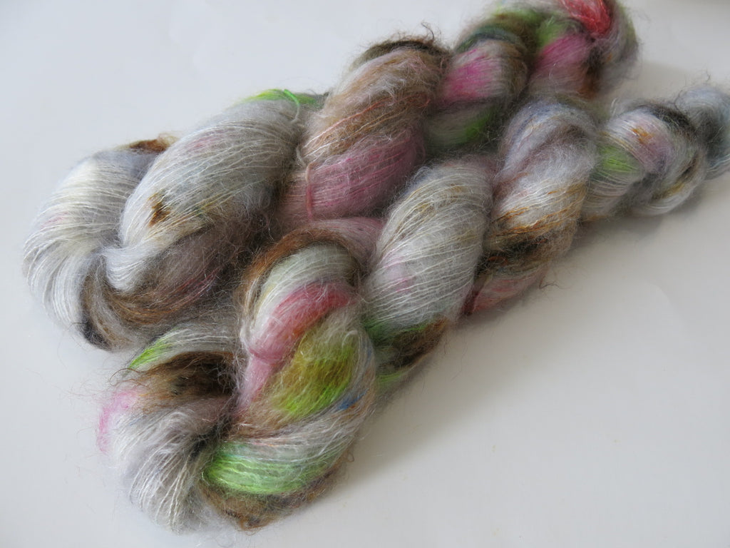 hand dyed kid silk mohair lace yarn in grey and pink and green