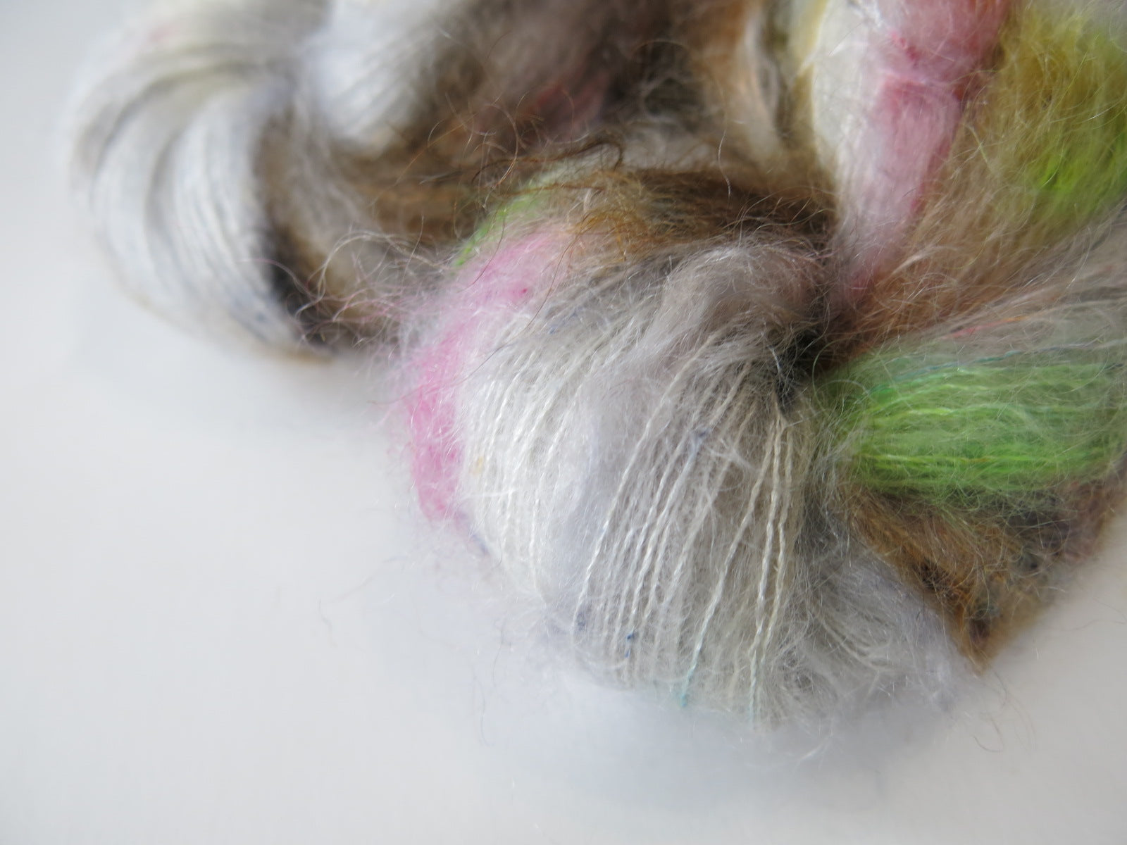 50g indie dyed lace weight mohair in grey zombie colours