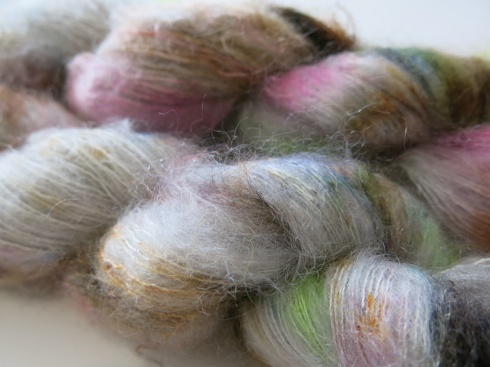 hand dyed brushed mohair yarn for knitting, weaving and crochet