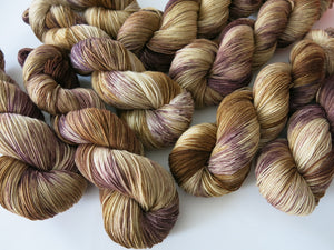 brown kettle dyed yarn skeins by indie dyer my mama knits