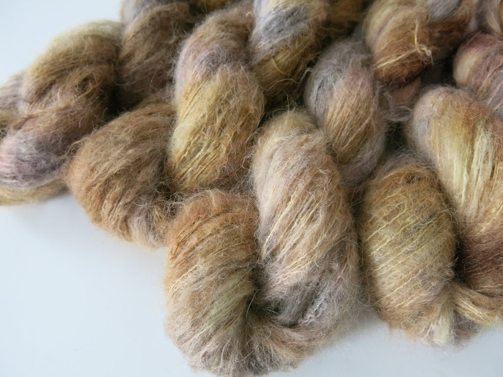 tonal brown baby suri alpaca silk lace yarn skeins for knitting and crochet