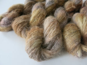 indie dyed brown suri alpaca silk lace for shawl and sweater knitting