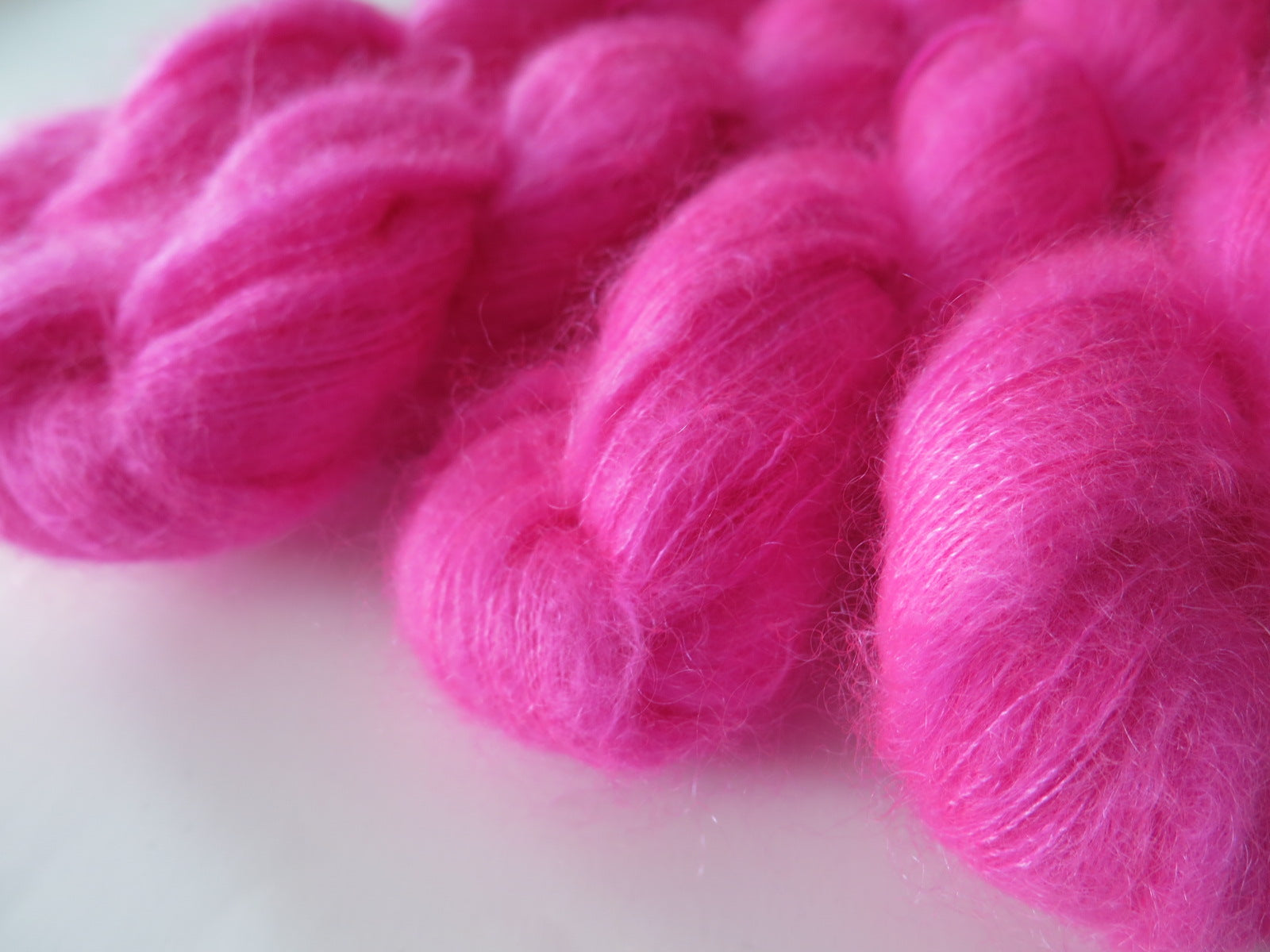 hand dyed neon pink brushed kid silk mohair lace weight yarn skeins