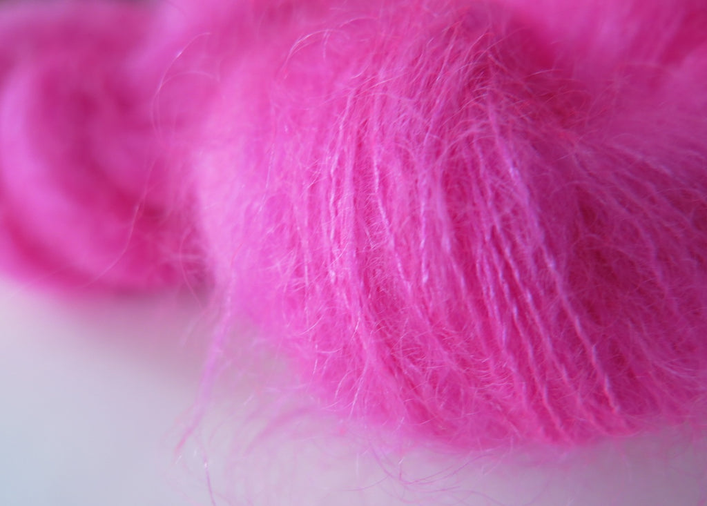 kettle dyed uv reactive neon pink mohair for knitting and crochet