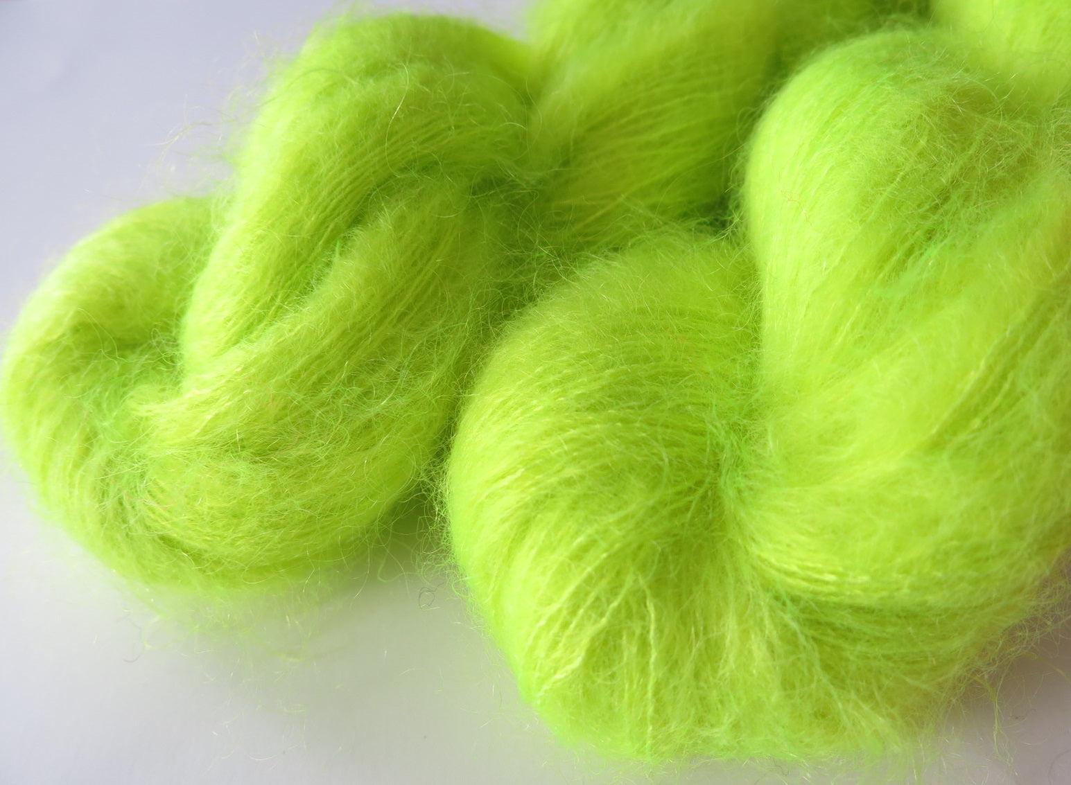 brushed kid mohair lace in neon black light yellow