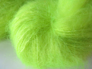 uv reactive neon yellow mohair for lace knitting and crochet