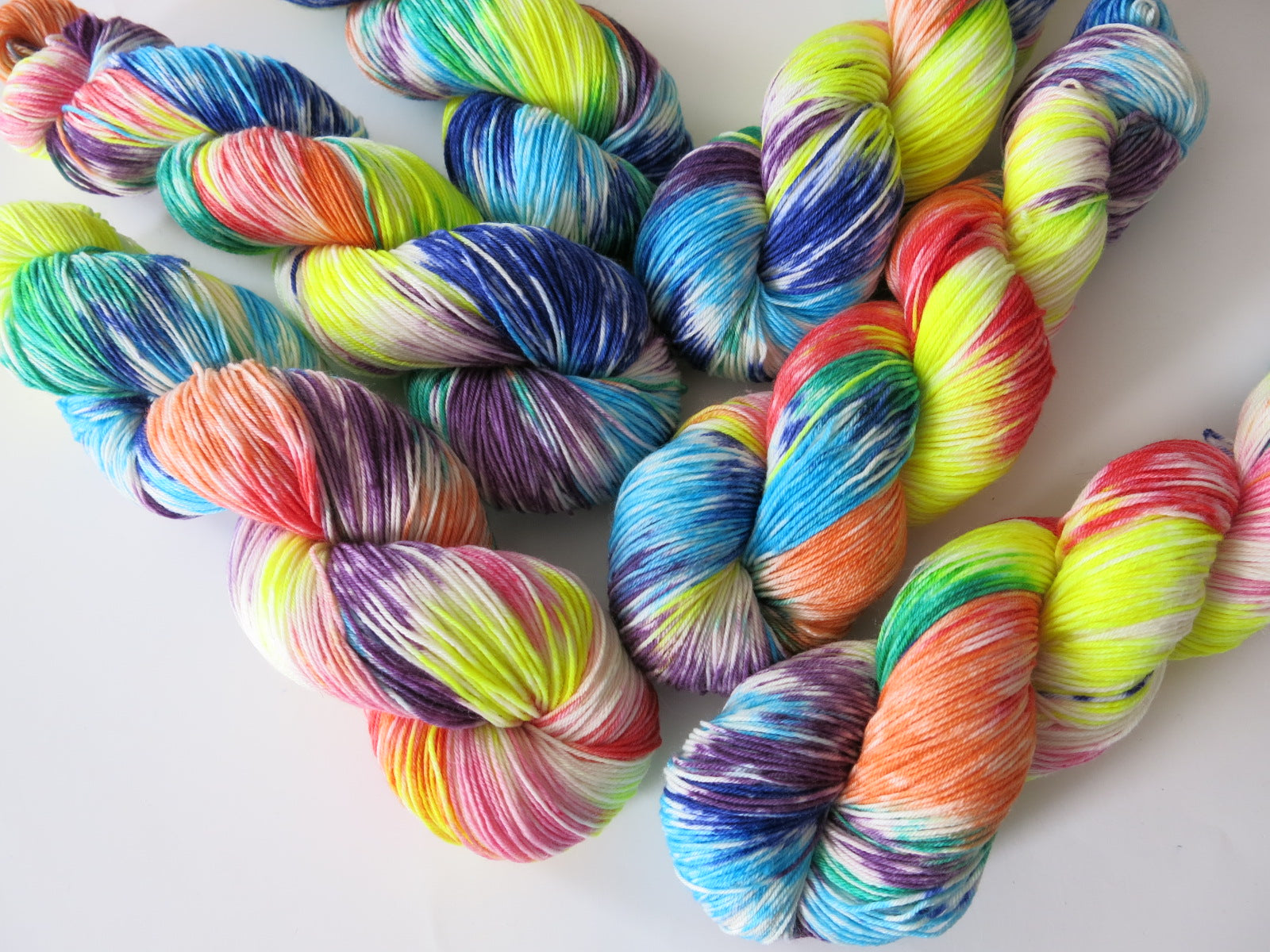 100g skeins rainbow painted wool for knitting and crochet