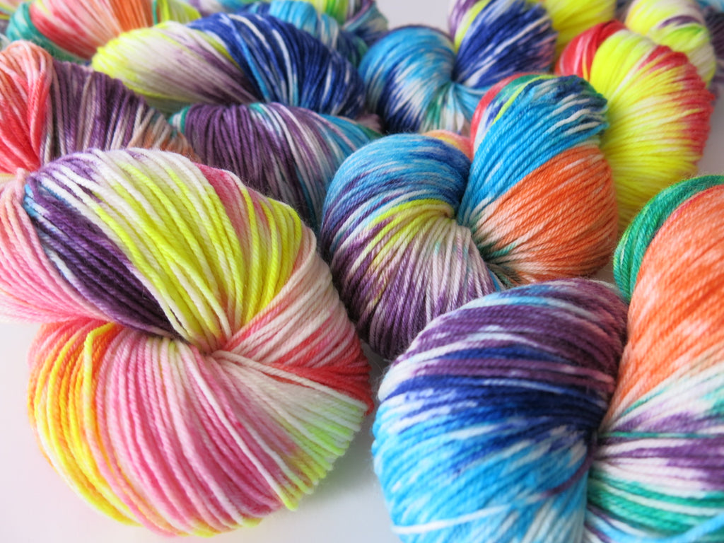 hand dyed rainbow coloured merino sock yarn with nylon