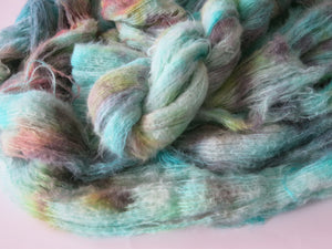 kettle dyed turquoise suri alpaca and silk lace weight yarn