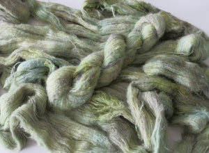 green as glass alpaca yarn skein on fluff lace by my mama knits