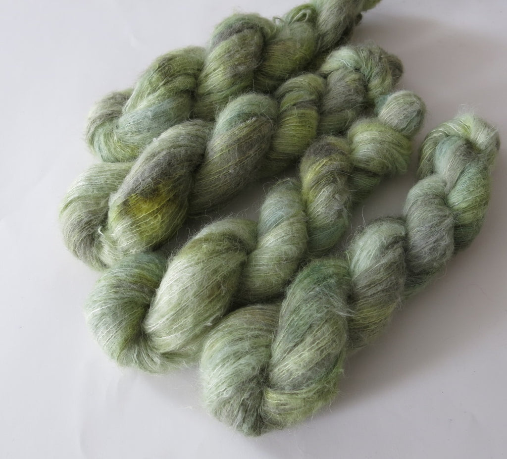tonal green baby suri alpaca silk yarn for knitting and crochet