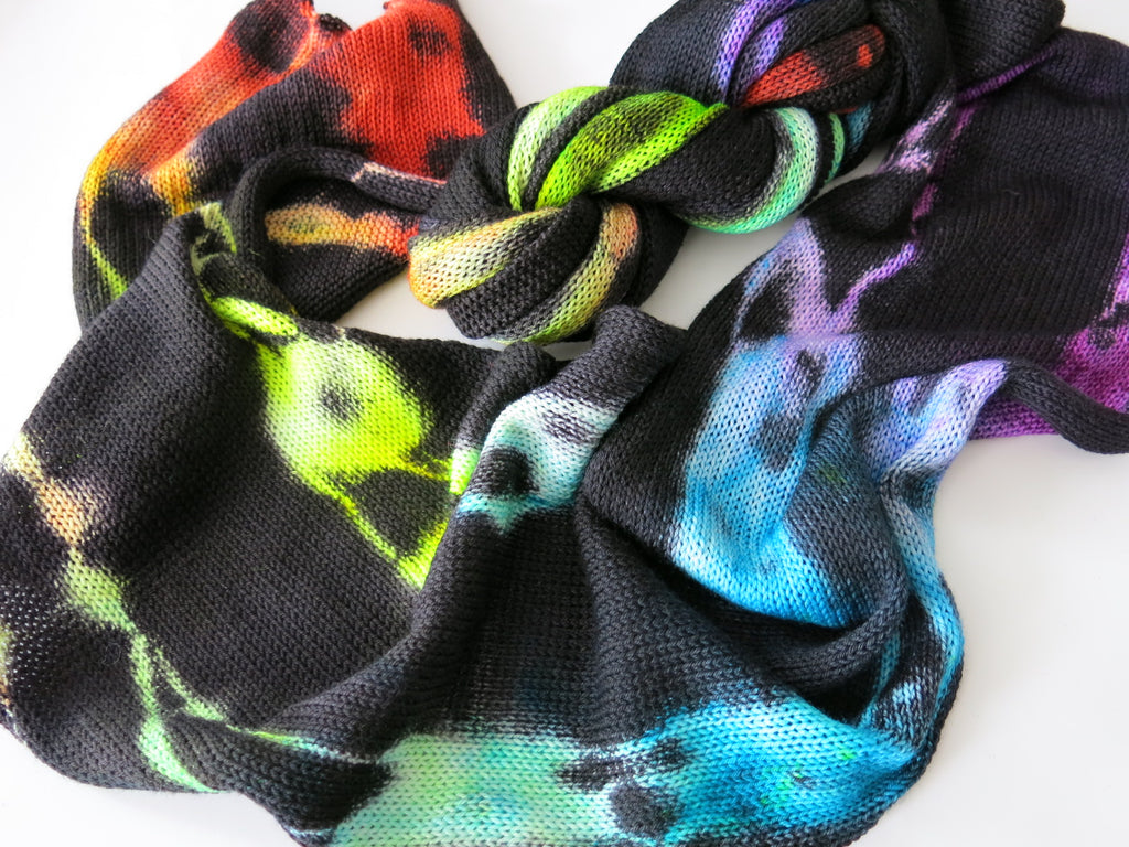 hand dyed black and rainbow sock blank for knittng and crochet