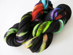 indie dyed sock blank in black with pops of rainbow colours