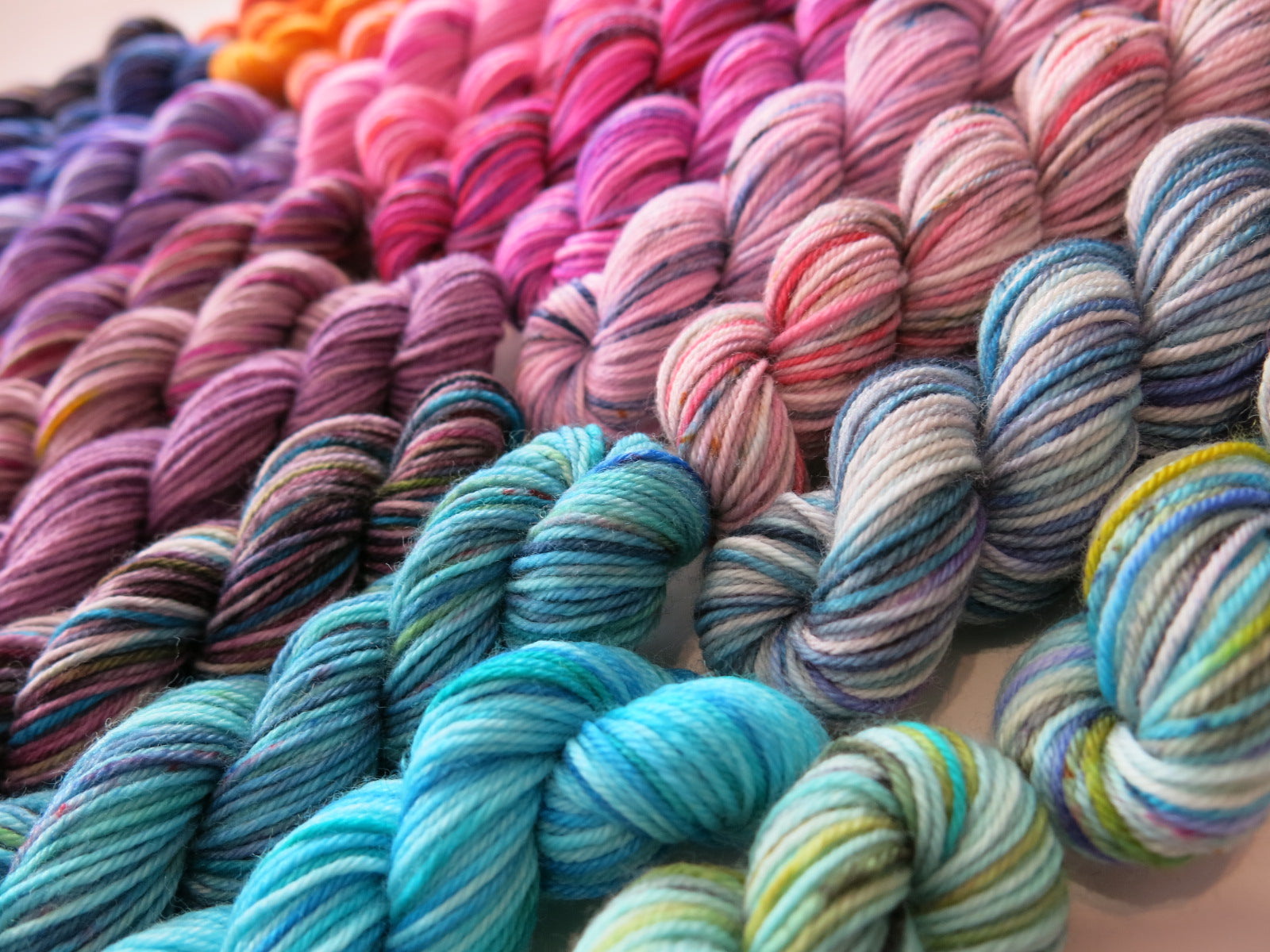 24 mini skein set in indie dyed sock yarn with speckles