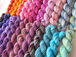 hand dyed and speckled rainbow yarn set for knitting, weaving and crafts