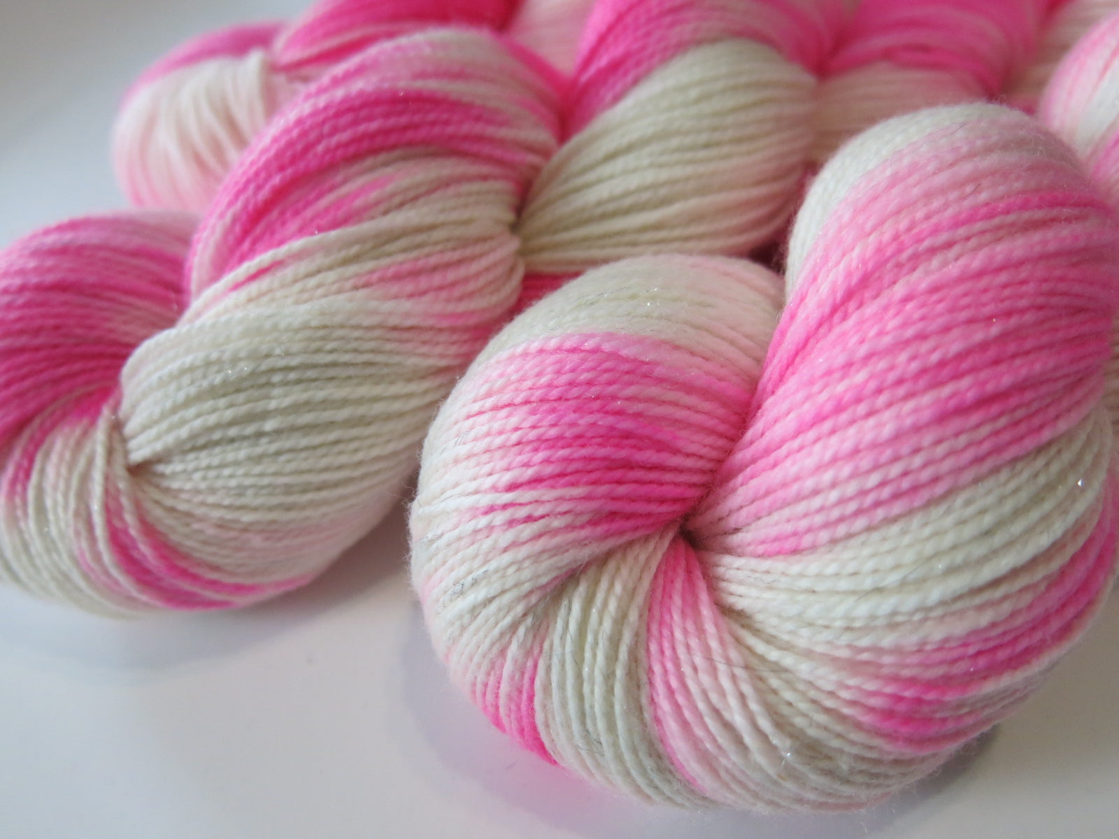 hot pink and white sock yarn for knitting and crochet
