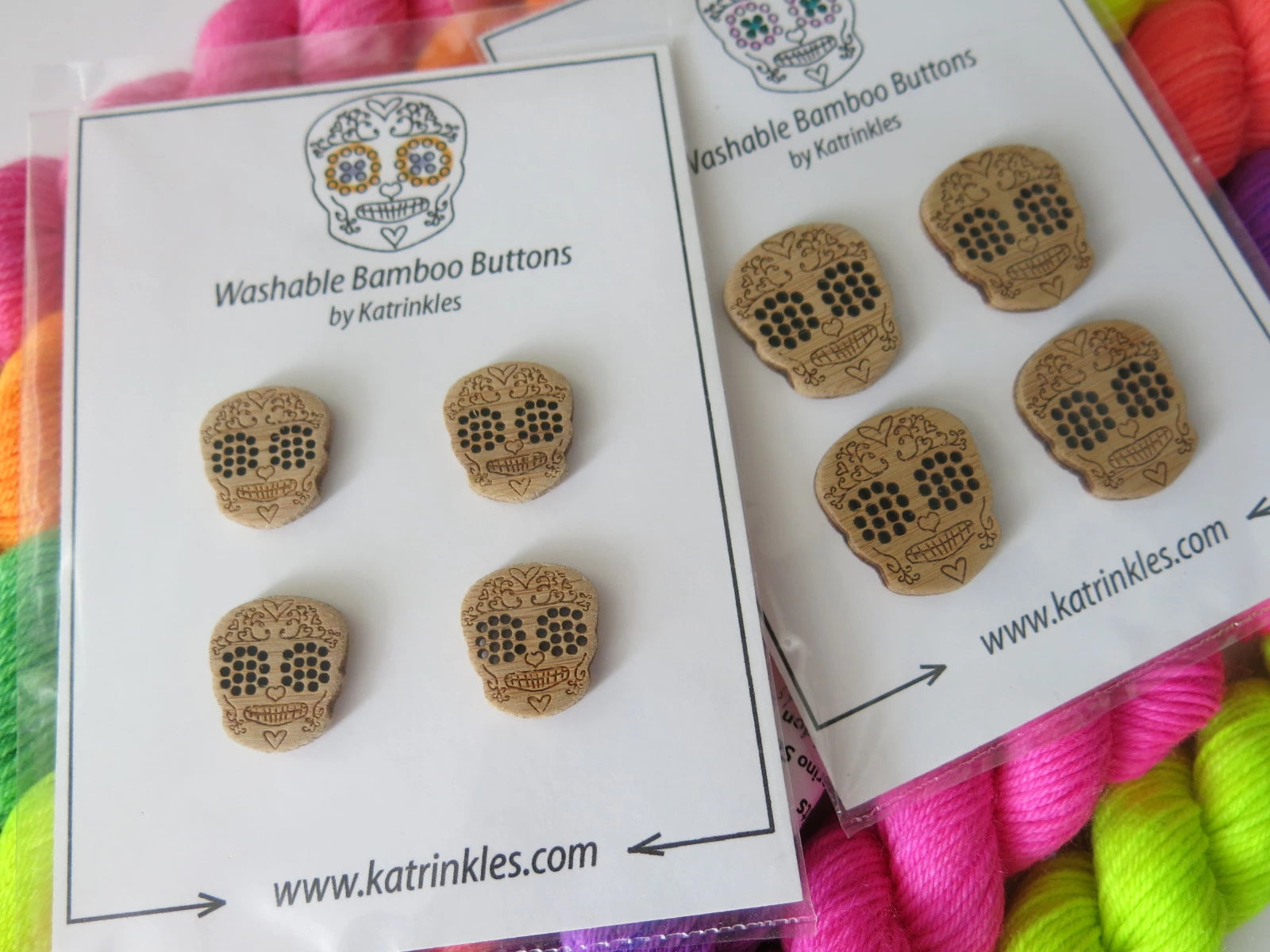 stitchable wooden sugar skull buttons by katrinkles