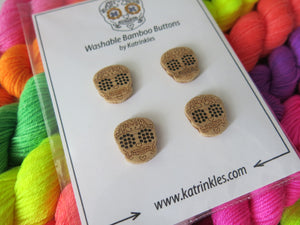 3/4 inch wooden sugar skull buttons by katrinkles