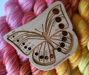 wooden laser cut butterfly design knitting needle gauge